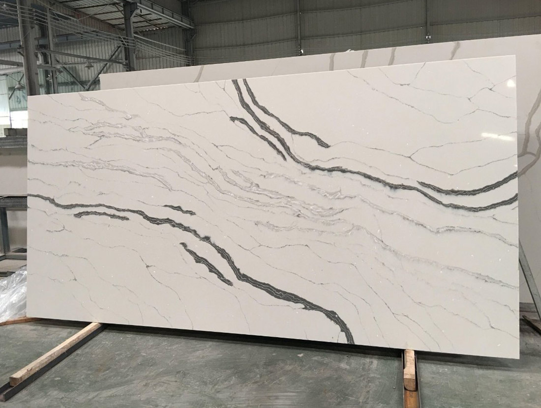 New Calcatta Quartz Slabs For Kitchen Countertops From Chinese Quartz Stone  Factory