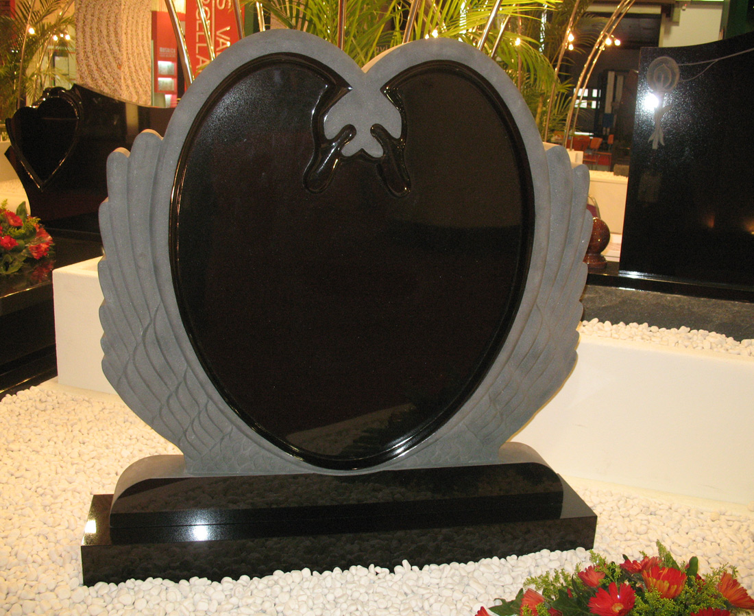 Shanxi Black Granite Wing Headstone