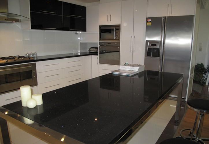 Black quartz table top