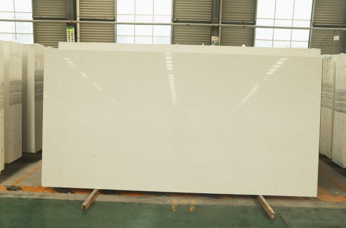 artificial quartz stone slab countertop white crystal