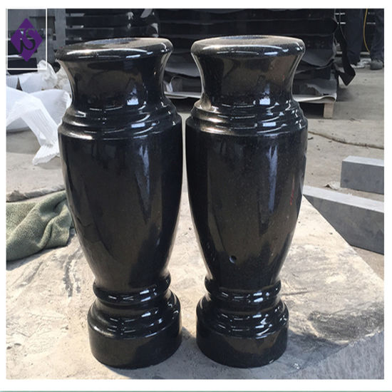 & Polished Black Granite Flower Vase for Cemetery Tombstone