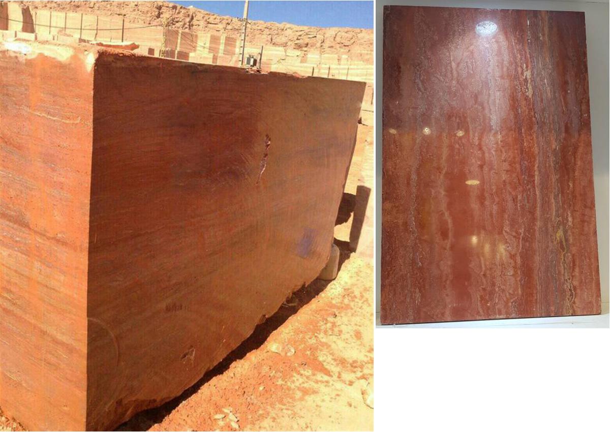 Red Travertine Block