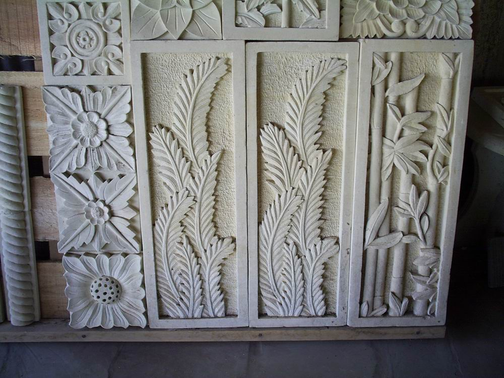 White limestone flower hand carved relief stone