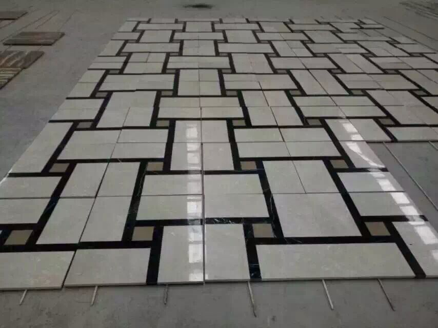 Inlaid Marble Floor Patterns : Marble flooring inlay water jet medallion