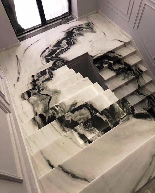 Panda White Marble Stairs