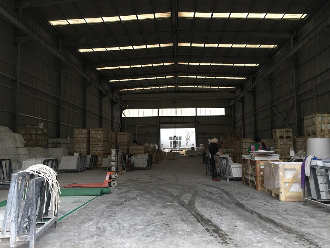 Our marble tiles warehouse and packing workshop
