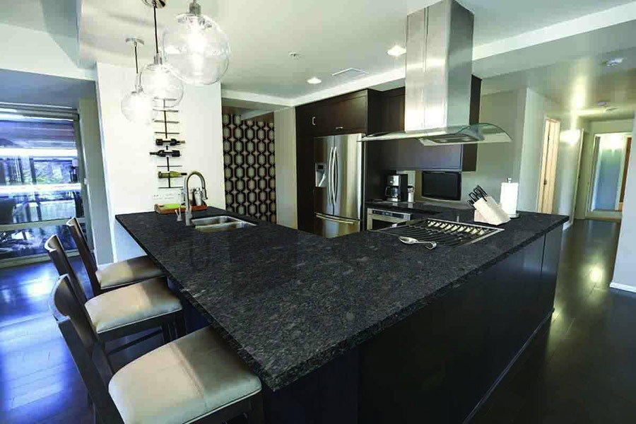 India Steel Grey Granite Kitchen Countertops