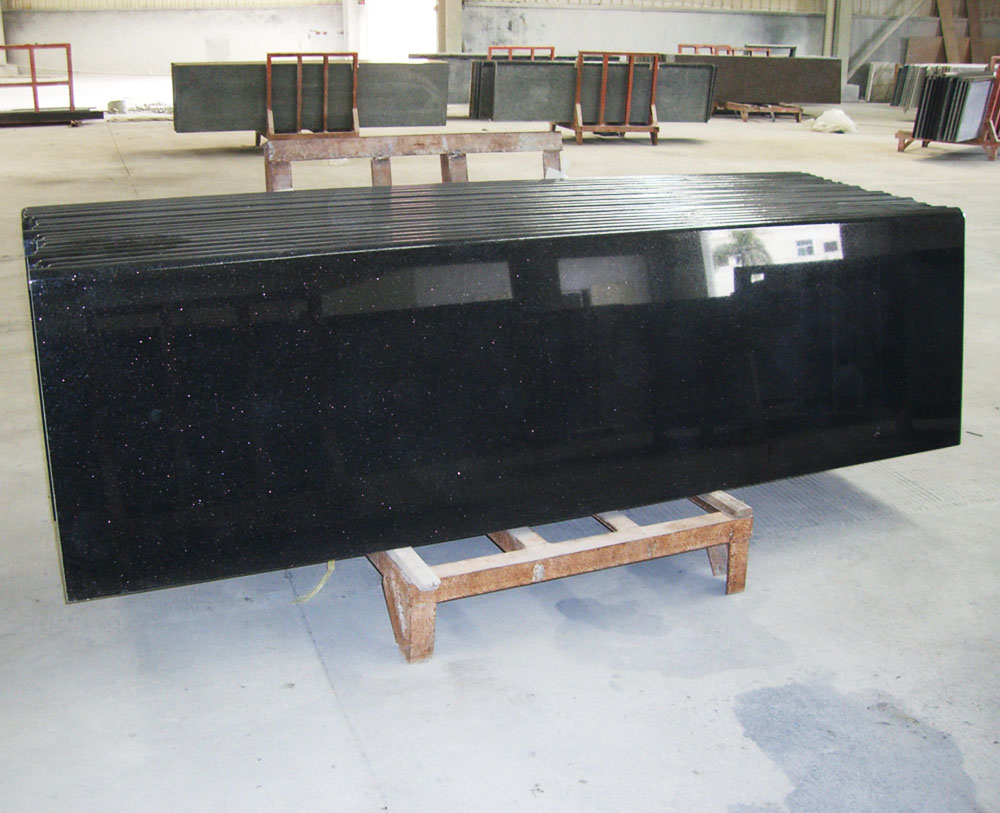 Indian Black Galaxy Granite Kitchen Countertops