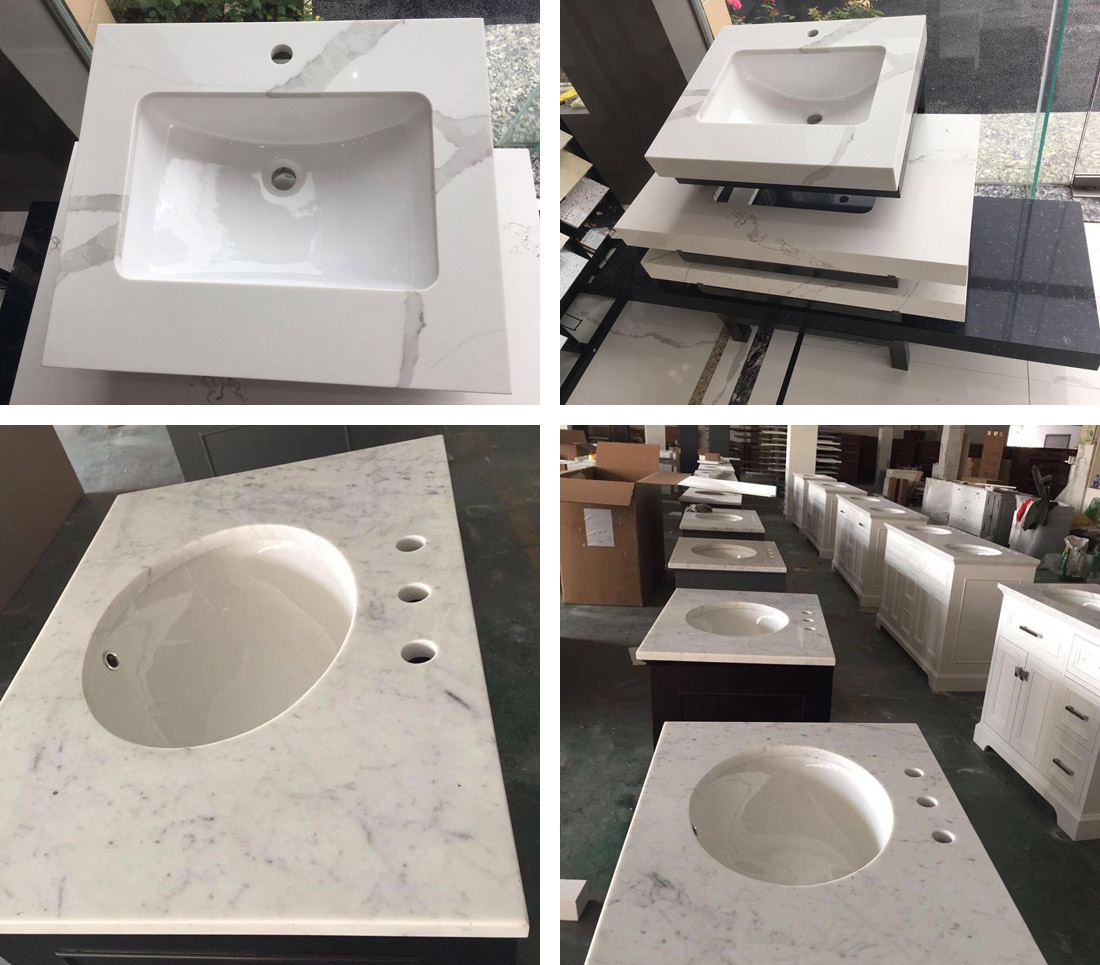 White Quartz Vanity Tops Chinese Quatz
