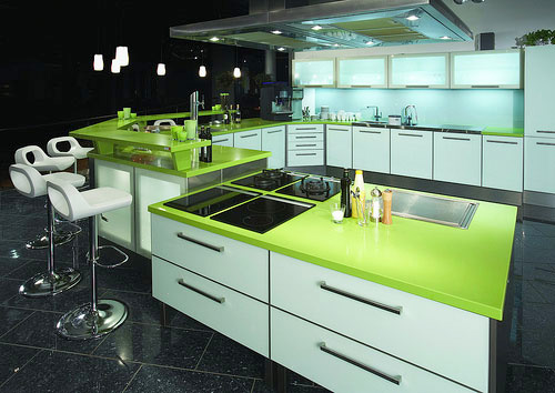 Green Quartz Kitchen Countertops