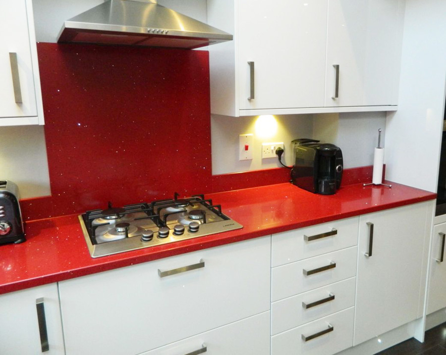 Red Quartz Kitchen Countertops