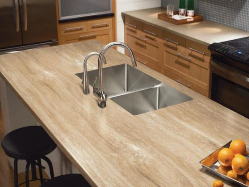 Beige Travertine Kitchen Countertops