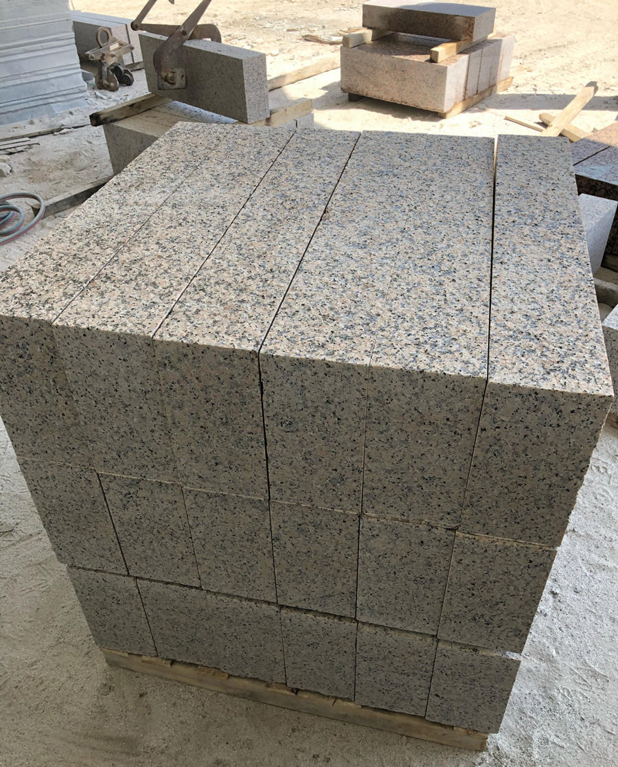 Flamed Rosa Porrino Granite Kerbstones