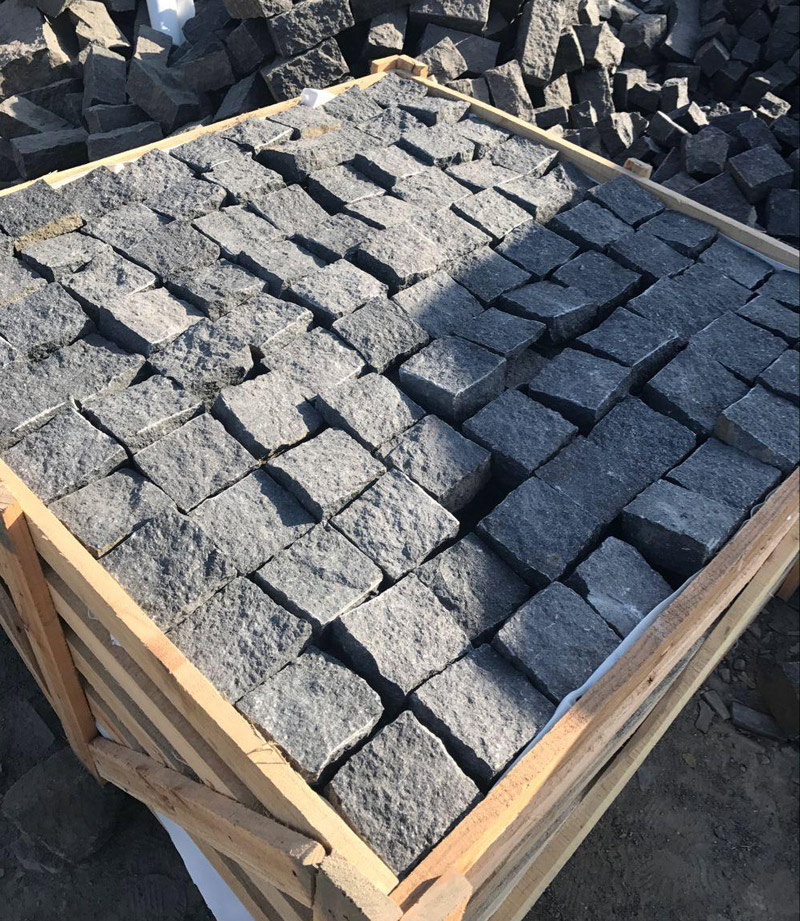 G684 Black Basalt Paving Stone Natural Cube Stone