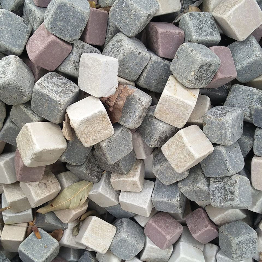 Multi Colour Tumbled Finish Granite Cobbles
