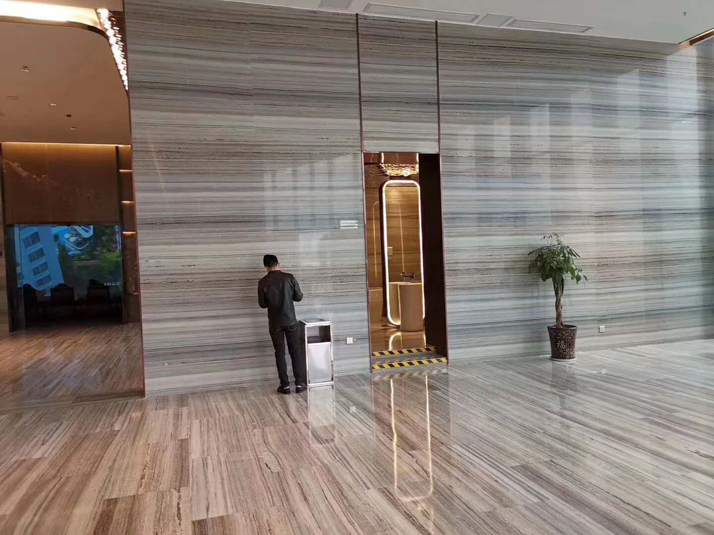 China grey wood marble slabs decoration