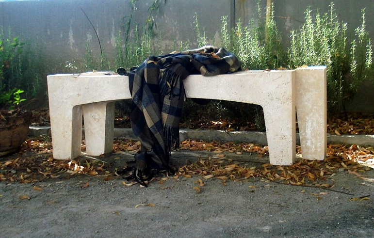 Travertine Bench for Outdoor Purposes