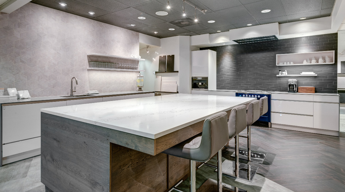 Statuario White Quartz Kitchen Countertops