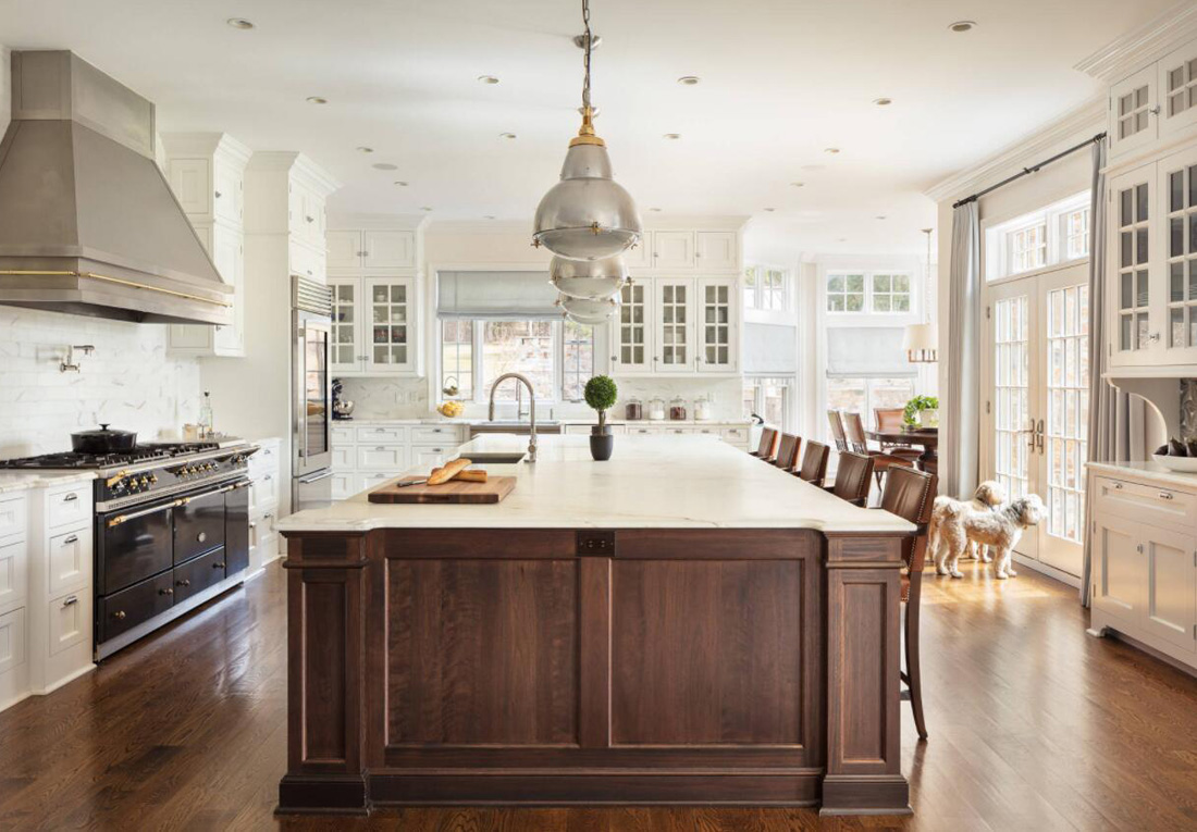 Bright Kitchen with White Stones