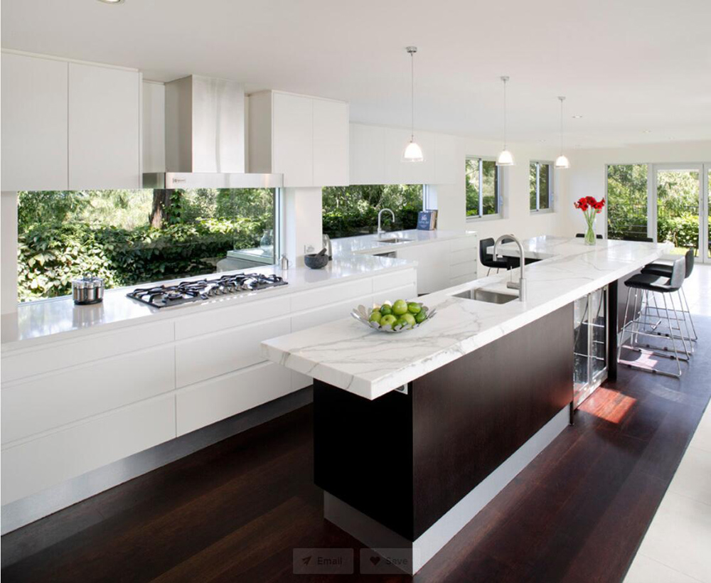 Modern Kitchen White Marble Countertops Stoneadd Photo