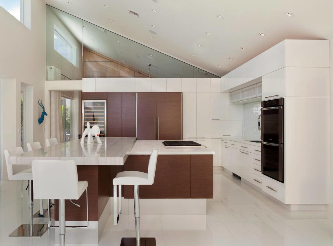 Modern Kitchen with White Marble Countertops