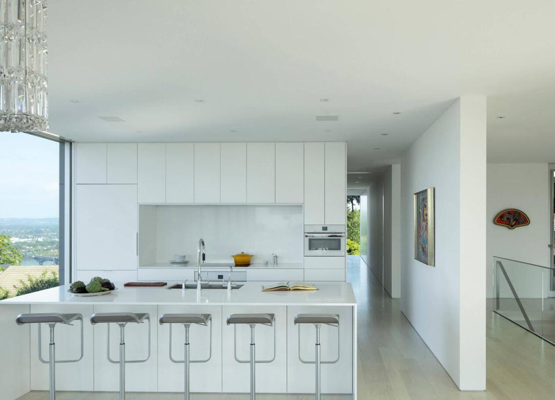 Modern Kitchen with White Quartz Countertops