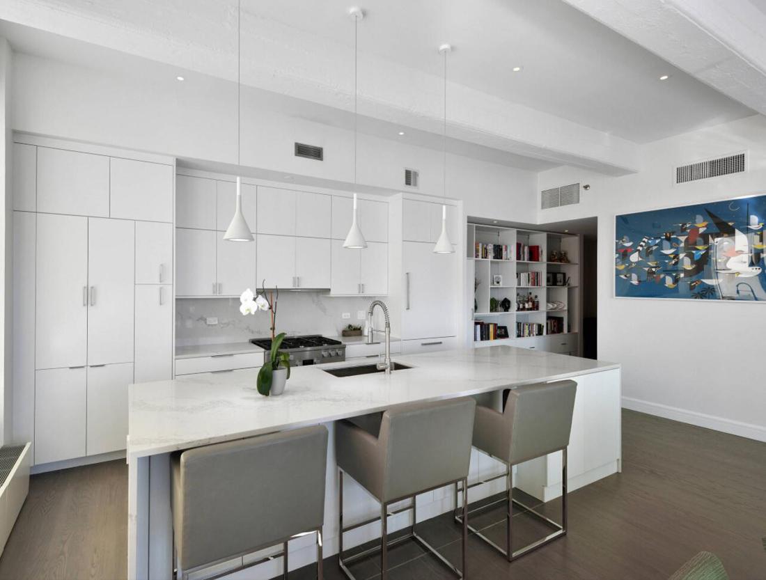 Modern White Kitchen Stone Countertops