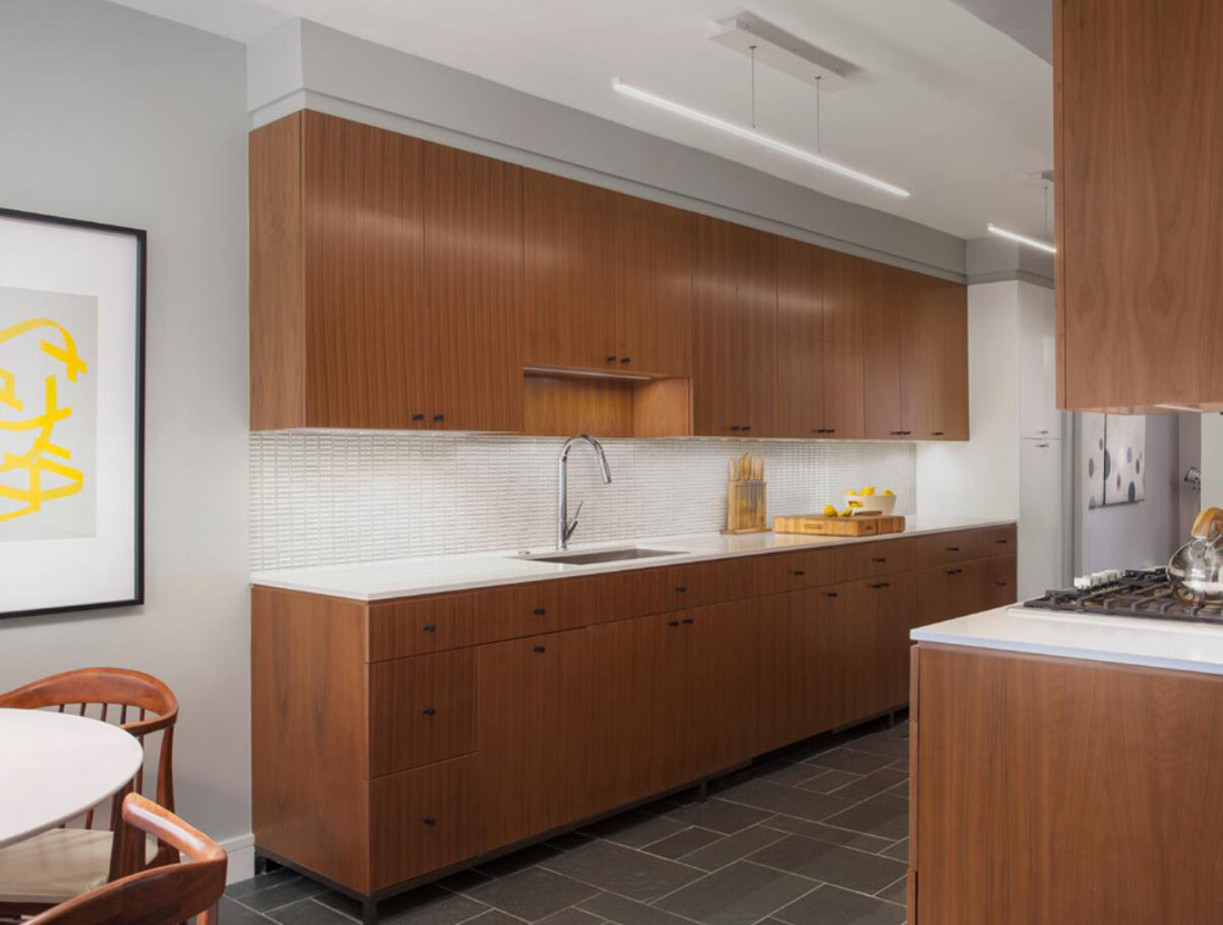 White Countertops With Brown Cabinets