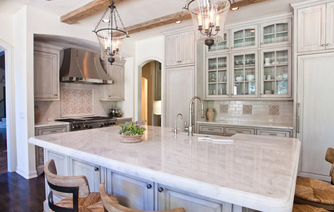 White Marble Countertops With Grey Cabinets Stoneadd Photo