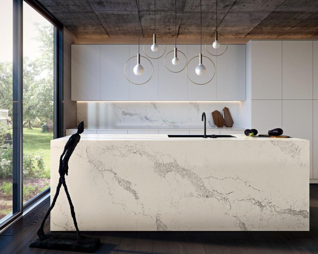 White Quartz Stone Kitchen Countertops