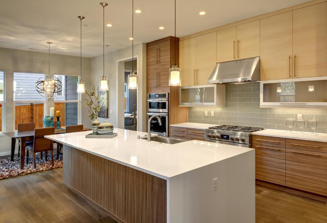 White Quartz Stone Modern Kitchen Countertops