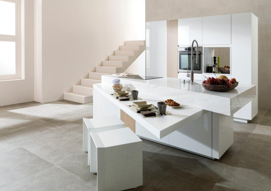 White Stone Kitchen Countertops