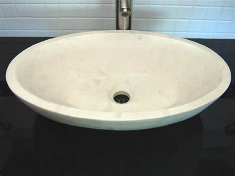 White Limestone Small Oval Bathroom Vessel Sinks