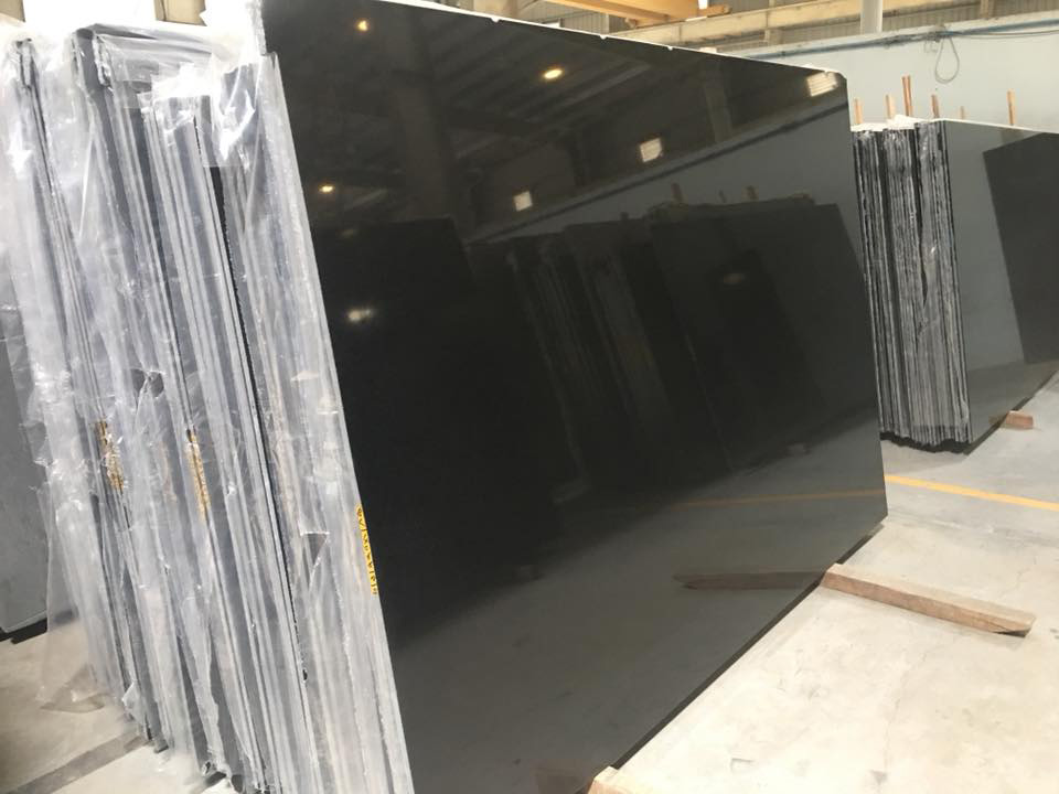 Indian Absolute Black Granite Slabs for Kitchen Countertops