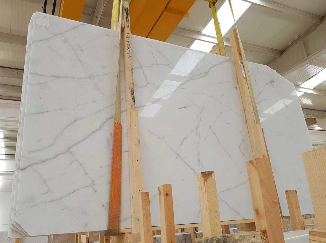 Mugla White Marble Slabs from Turkish Marble Factory