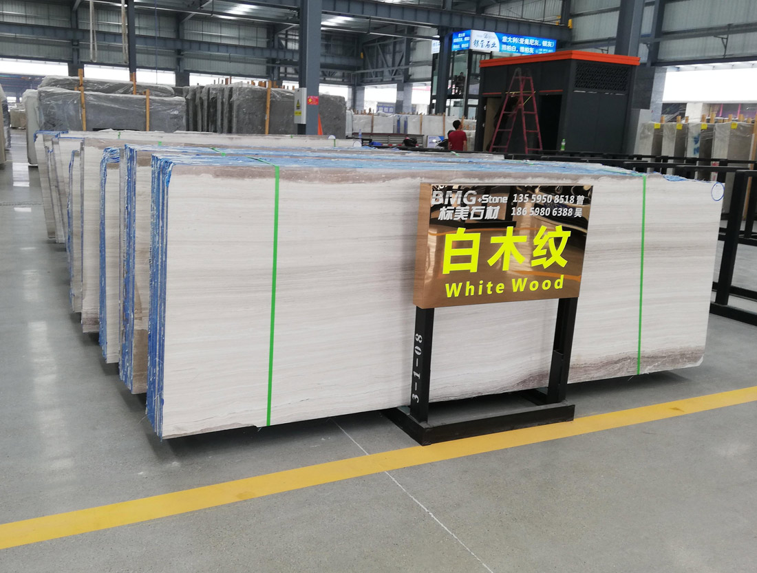 White Wooden Grain Marble Slabs from China
