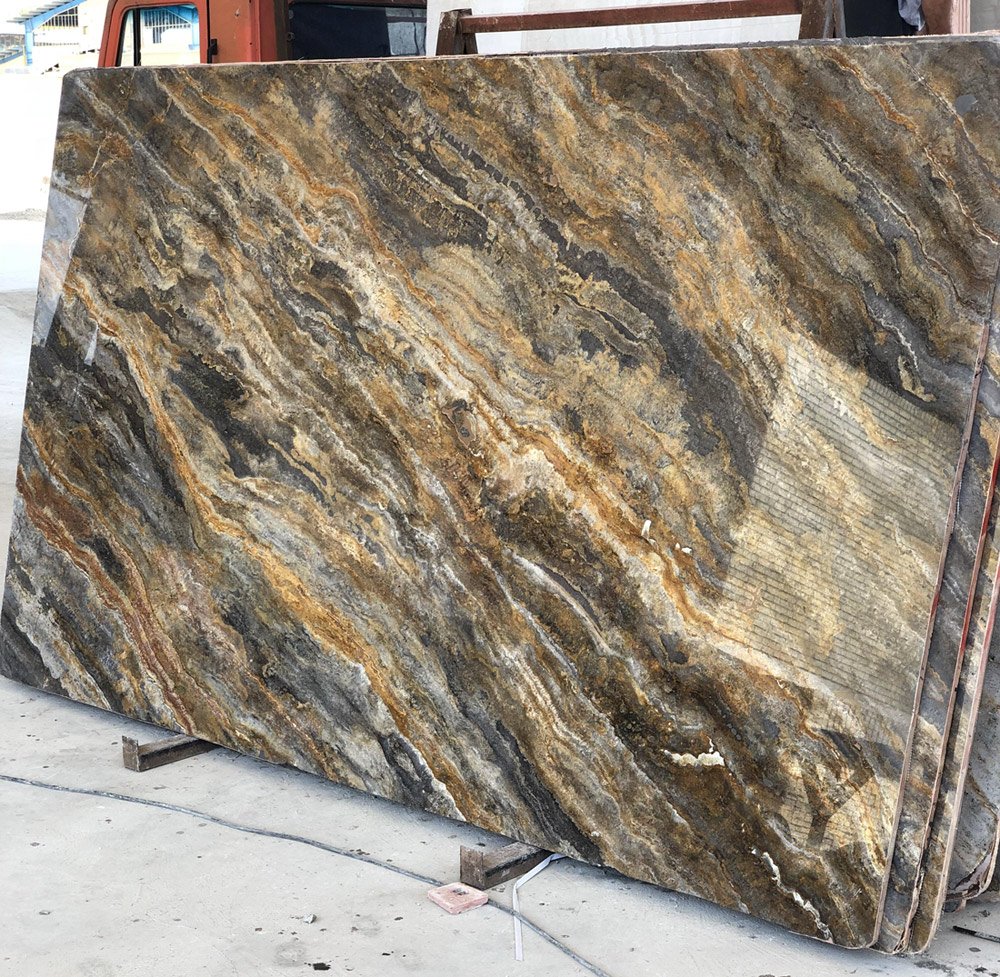 Silver Gold Travertine Slabs