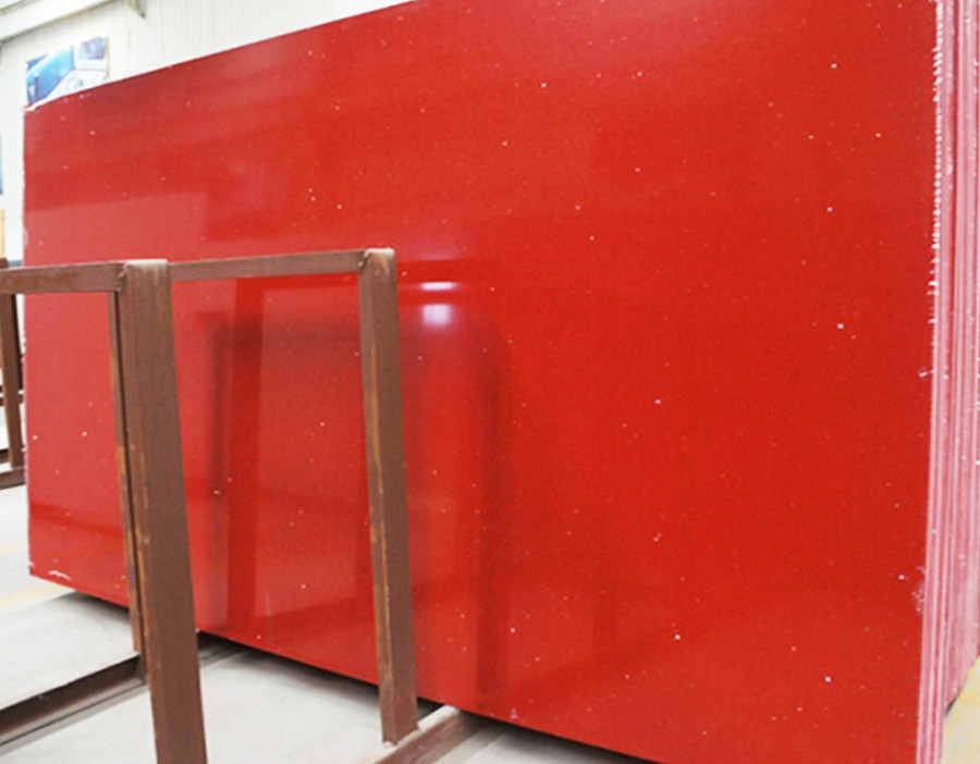 China Artificial Red Quartz Stone Slabs