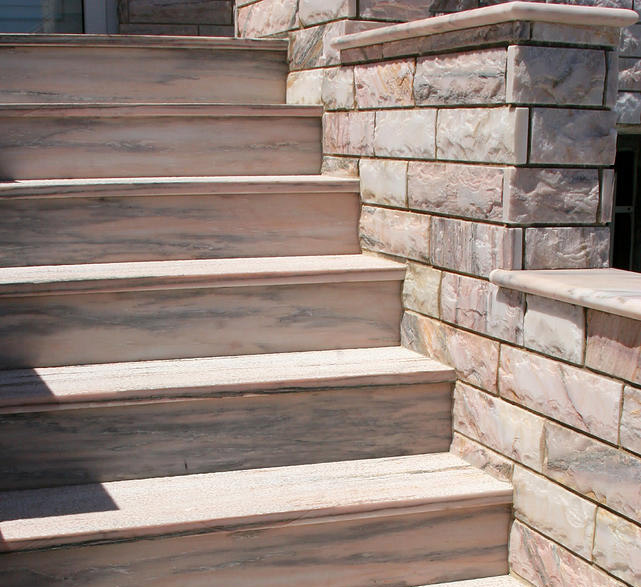 Pink Marble Stair Treads and Risers