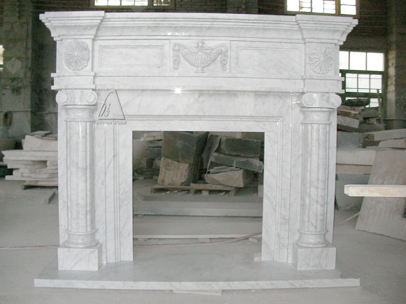 Bianco Carrara White Marble Fireplace Mantel for Indoor Decoration