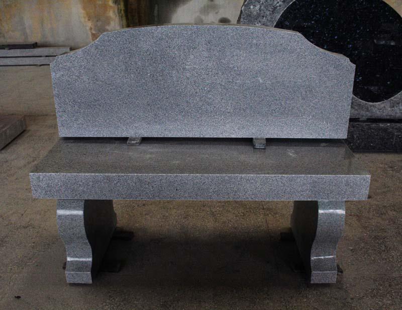 Light Gray G633 Granite Cemetery Bench Monument
