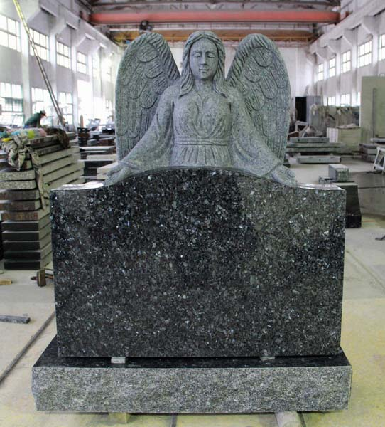 Blue Pearl Polished Angel Tombstone Monument
