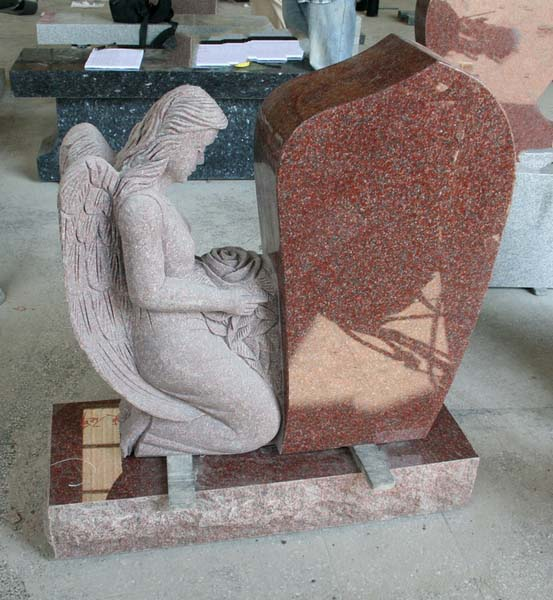 Indian Red Polished Angel Tombstone Monument