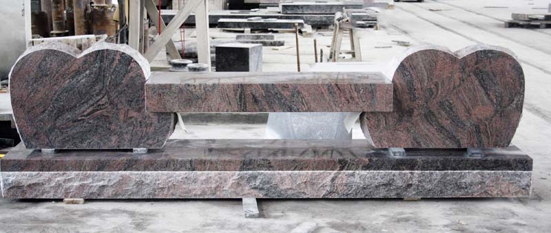 Paradiso Granite Double Hearts Bench Monument