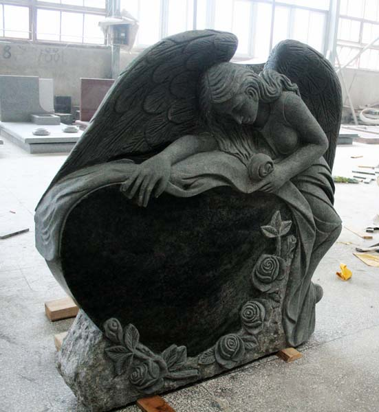 Tropical Green Polished Angel Carving Tombstone