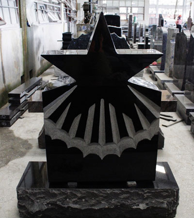 Shanxi Black Granite Custom Upright Star Monument