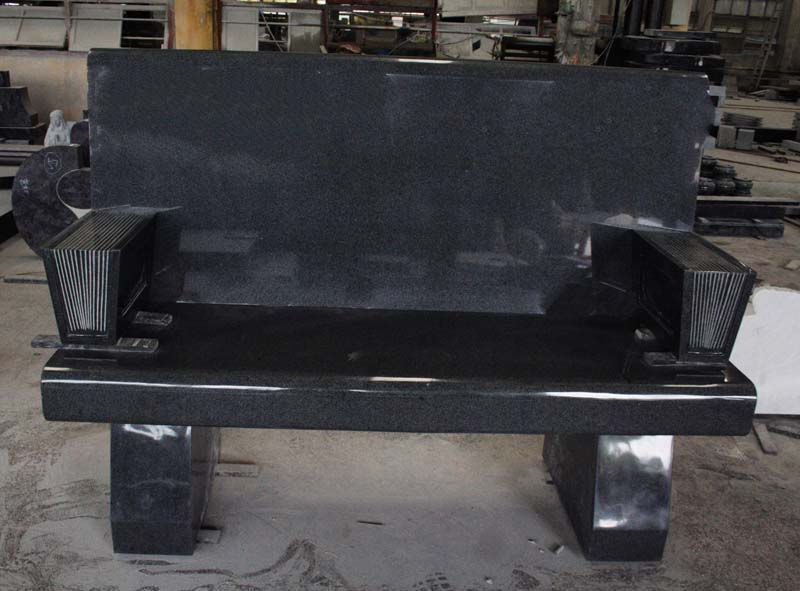 Indian Black Granite American Style Bench Monument