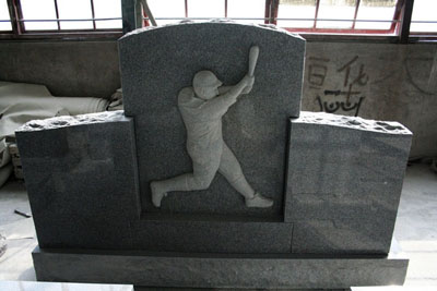 Light Gray Custom Baseball Player Carving Monument