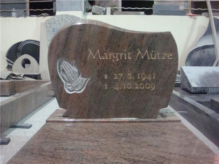European style relief rose engraving granite tombstone