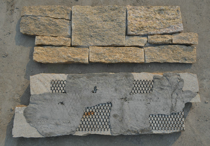 P014 Golden yellow slate stack stone backside with mesh and cement